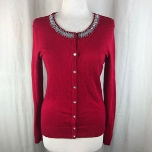 New York & Company Red Beaded Jewel Sweater S